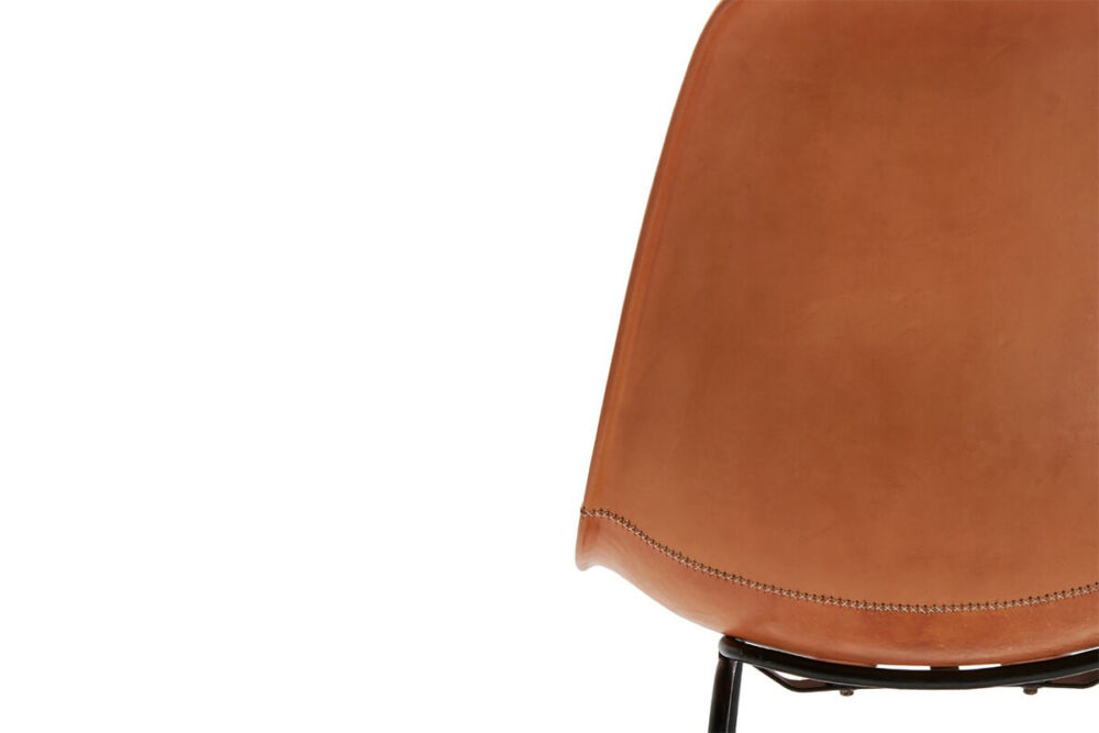 Hovy bar stool in natural leather by Sol & Luna