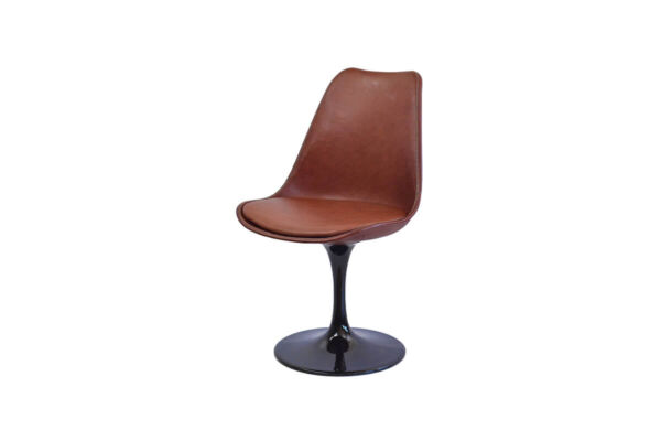 Revolving dining chair in brown leather with black swivel base by Sol & Luna