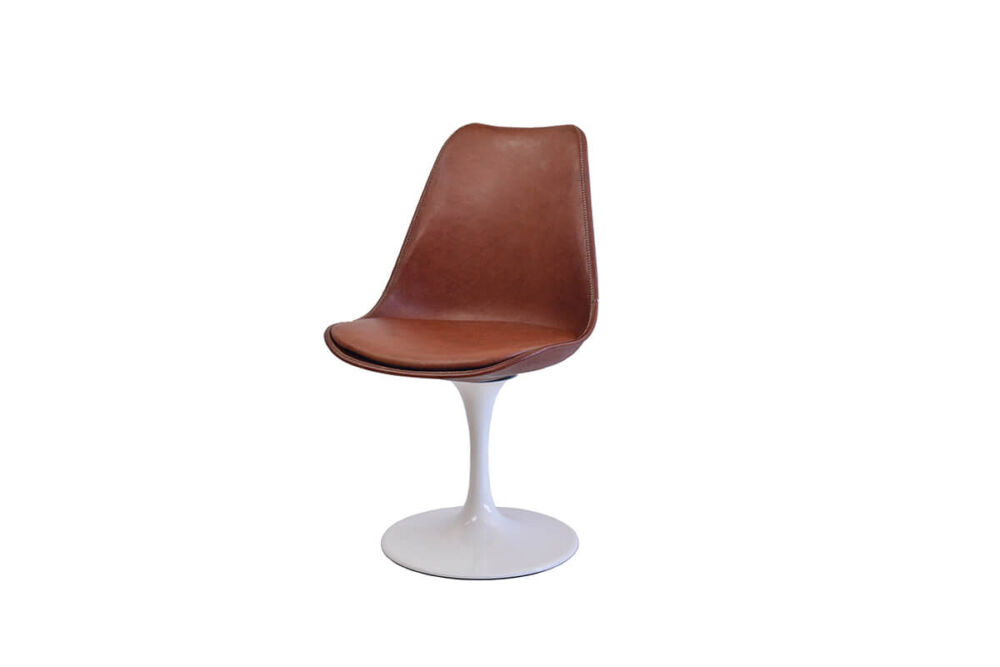 Revolving dining chair in brown leather with white swivel base by Sol & Luna