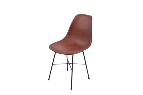 Hovy dining chair in brown leather by Sol & Luna