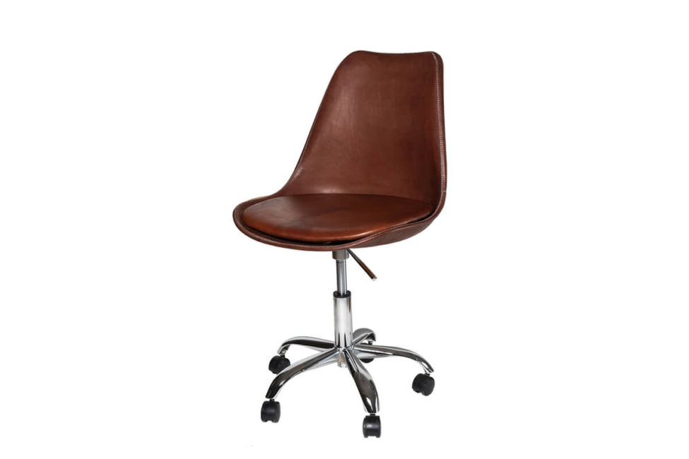 Revolving dining chair in brown leather (with wheels) by Sol & Luna