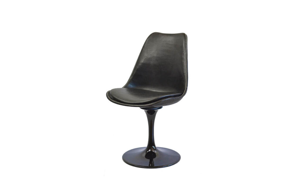 Revolving dining chair in black leather with black swivel base by Sol & Luna