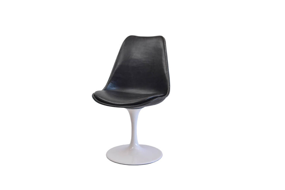 Revolving dining chair in black leather with white swivel base by Sol & Luna