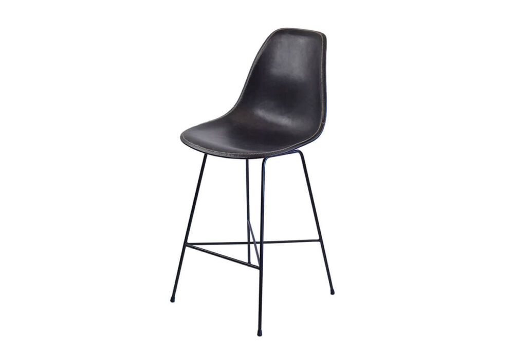 Hovy bar stool in black leather by Sol & Luna