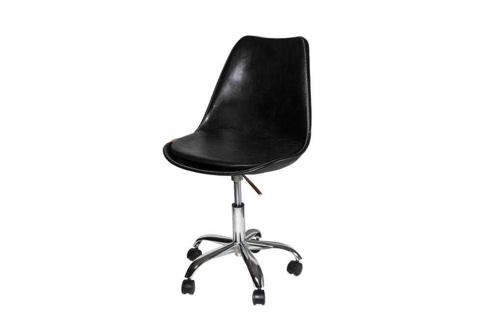 Revolving dining chair in black leather (with wheels) by Sol & Luna