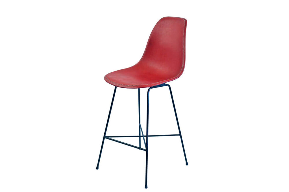 Hovy bar stool in red leather by Sol & Luna