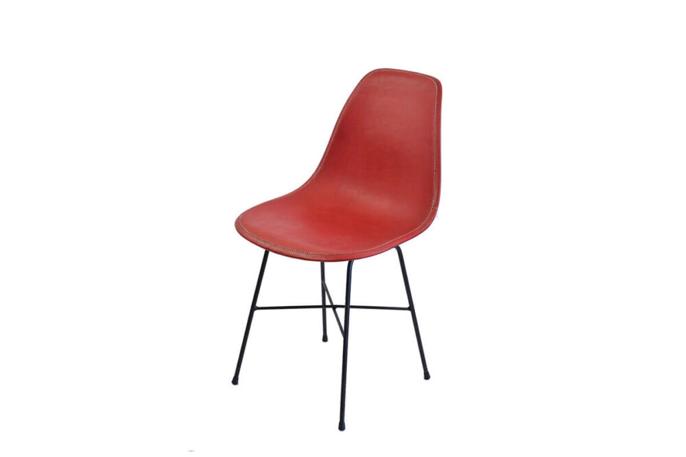 Hovy dining chair in red leather by Sol & Luna