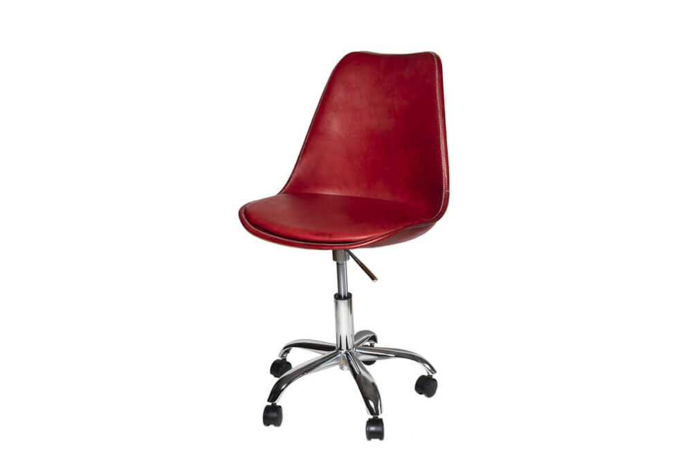 Revolving dining chair in red leather (with wheels) by Sol & Luna
