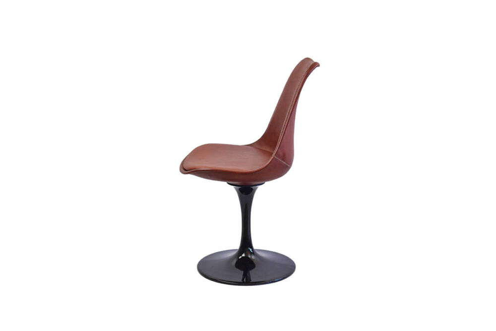 Revolving dining chair in brown leather (with black swivel base) by Sol & Luna