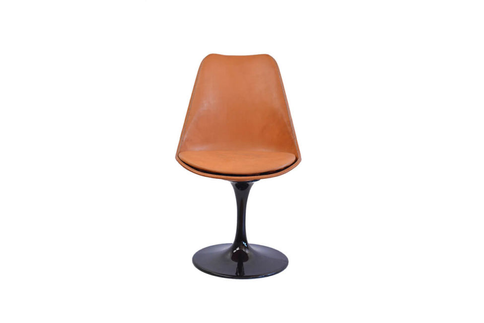 Revolving dining chair in natural  leather (with black swivel base) by Sol & Luna