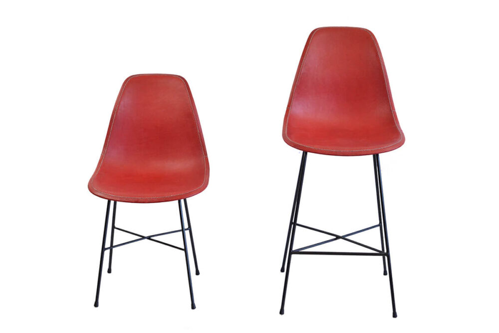 Hovy dining char and Hovy bar stool in red leather by Sol & Luna