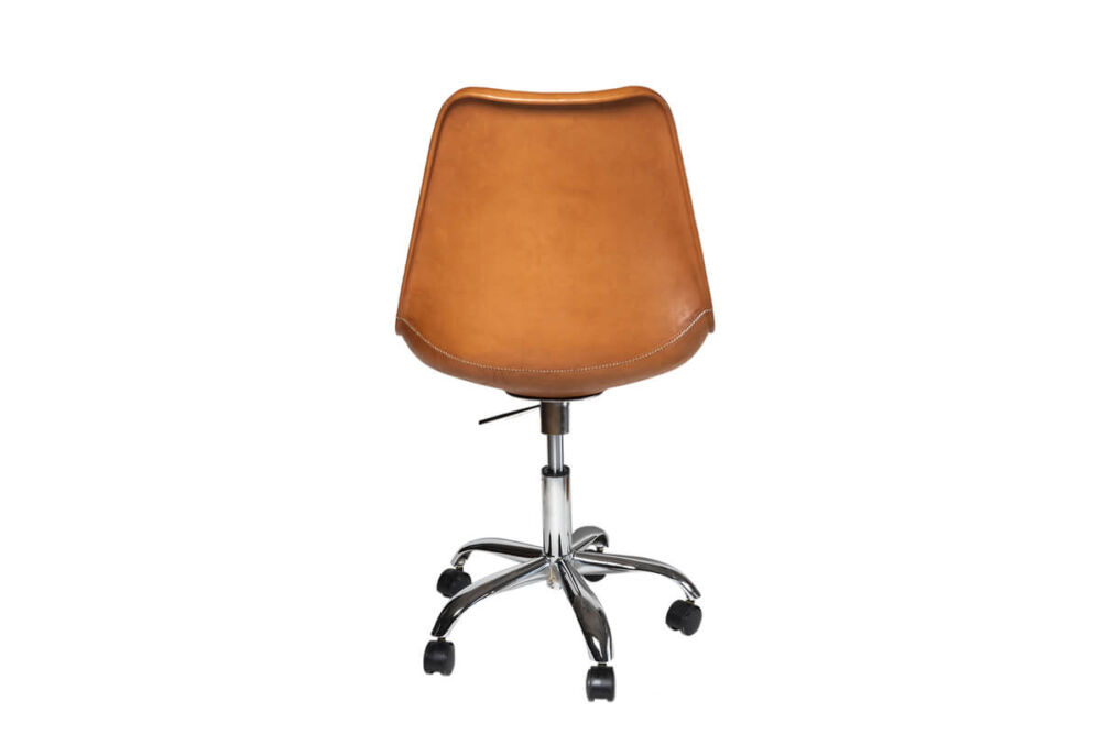 Revolving dining chair in natural leather (with wheels) by Sol & Luna
