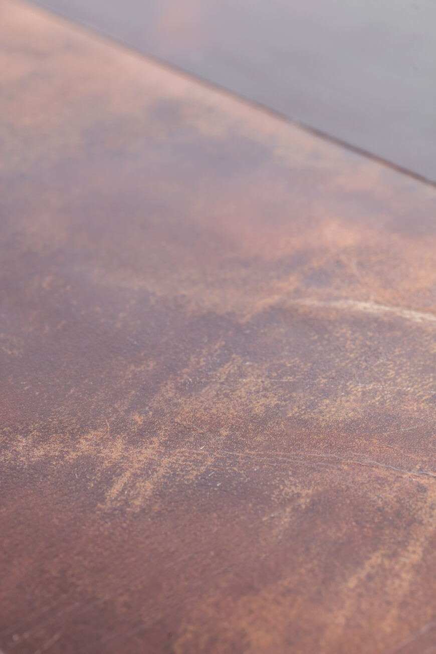 detail of CTR table with leather top by Heerenhuis