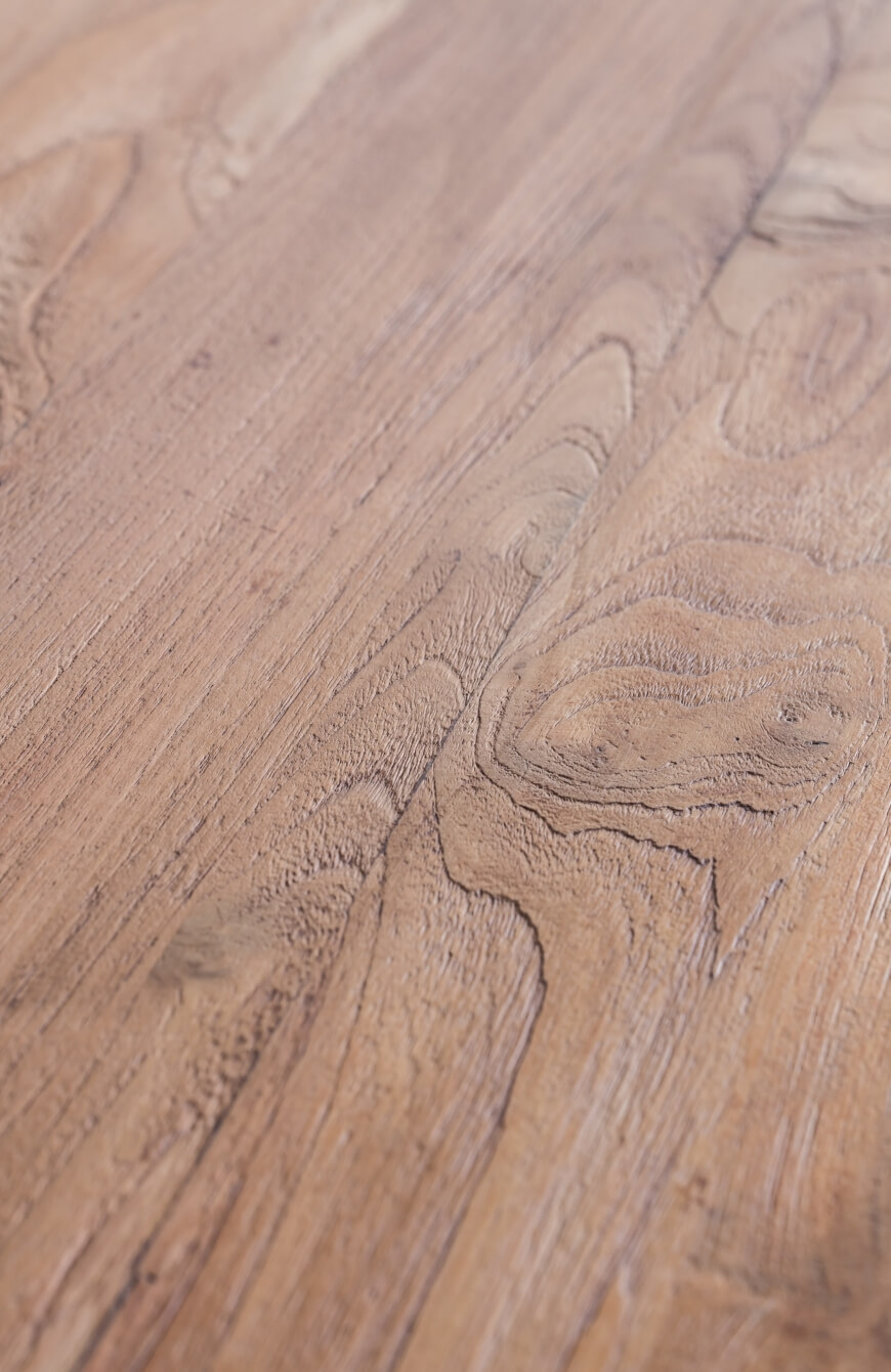 detail of reclaimed Teak table top by Heerenhuis
