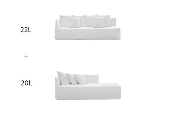 Ghost 22L + 20L - a two piece 'L shape' sectional sofa by Gervasoni