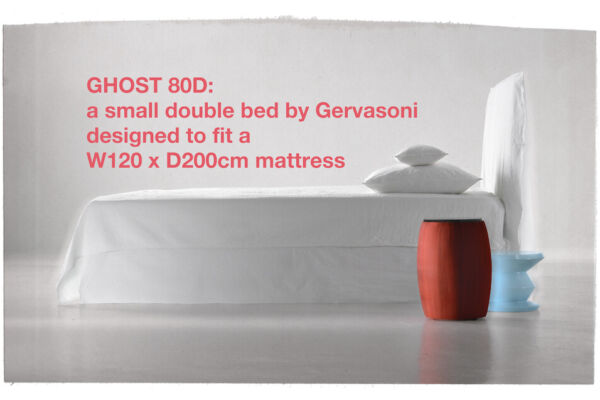 Ghost 80D - a small double bed by Gervasoni designed to fit a W120 x D200cm mattress