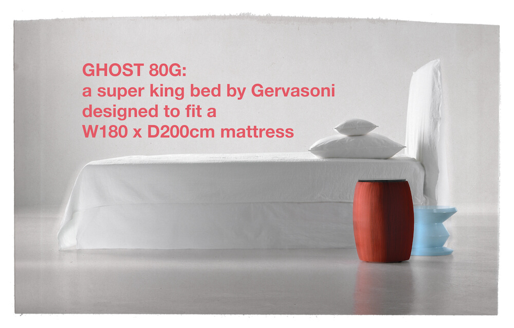 Ghost 80G - a super king bed by Gervasoni designed to fit a W180 x D200cm mattress