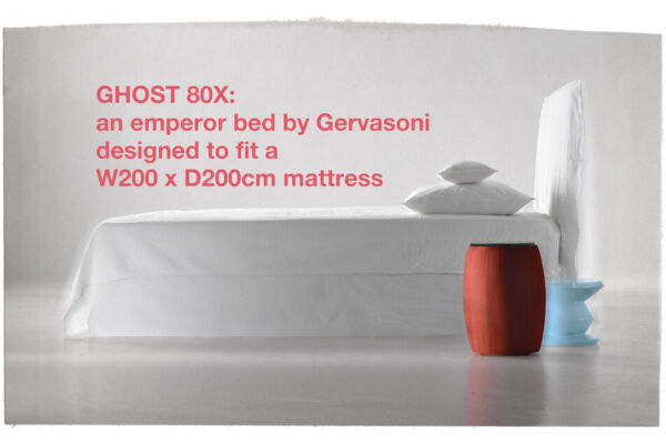 Ghost 80X - an emperor bed by Gervasoni designed to fit a W200 x D200cm mattress