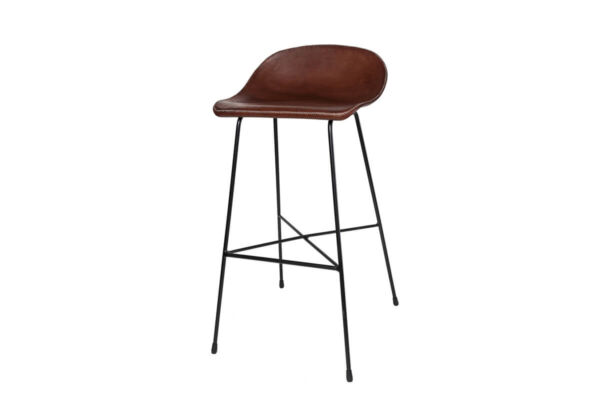 Luis bar stool in brown leather by Sol & Luna