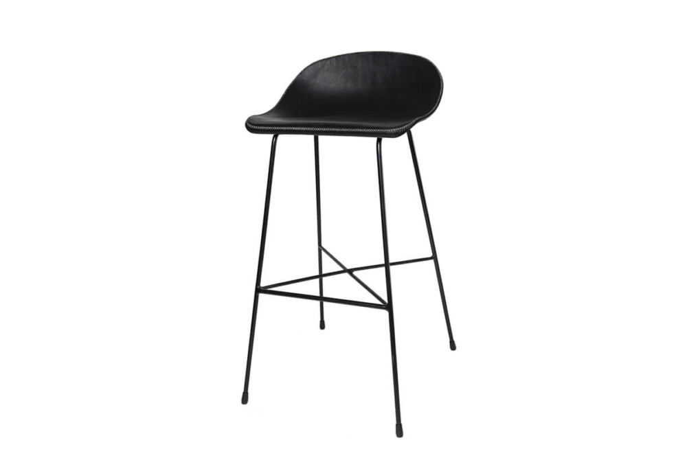 Luis bar stool in black leather by Sol & Luna