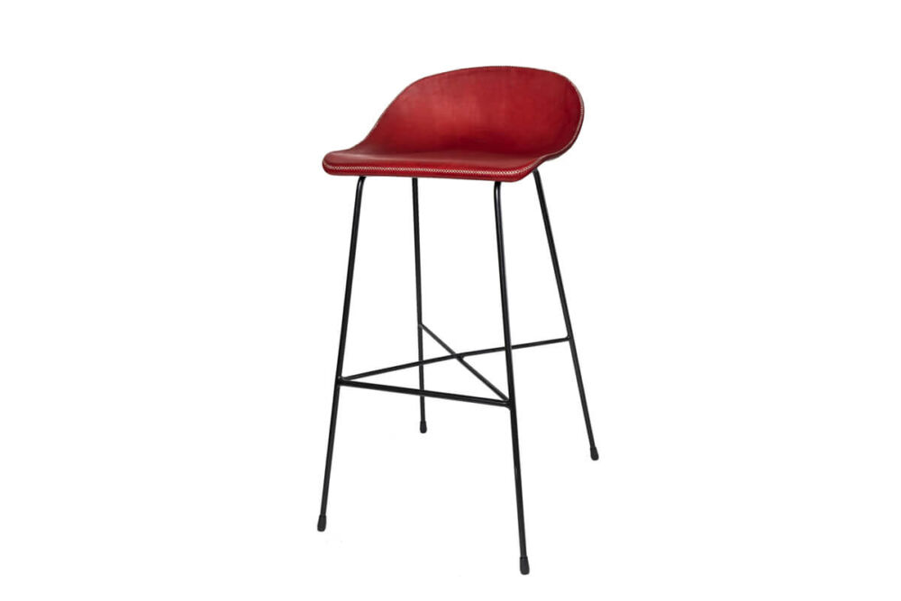 Luis bar stool in red leather by Sol & Luna