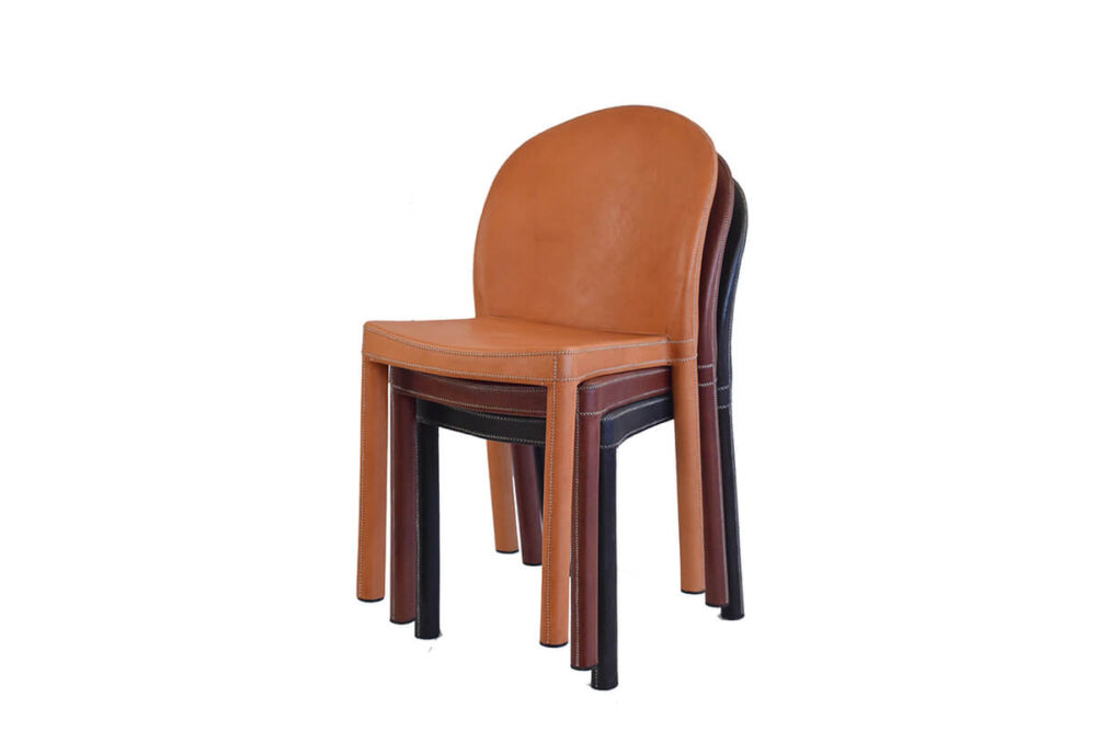Round chair in a choice of leathers by Sol & Luna
