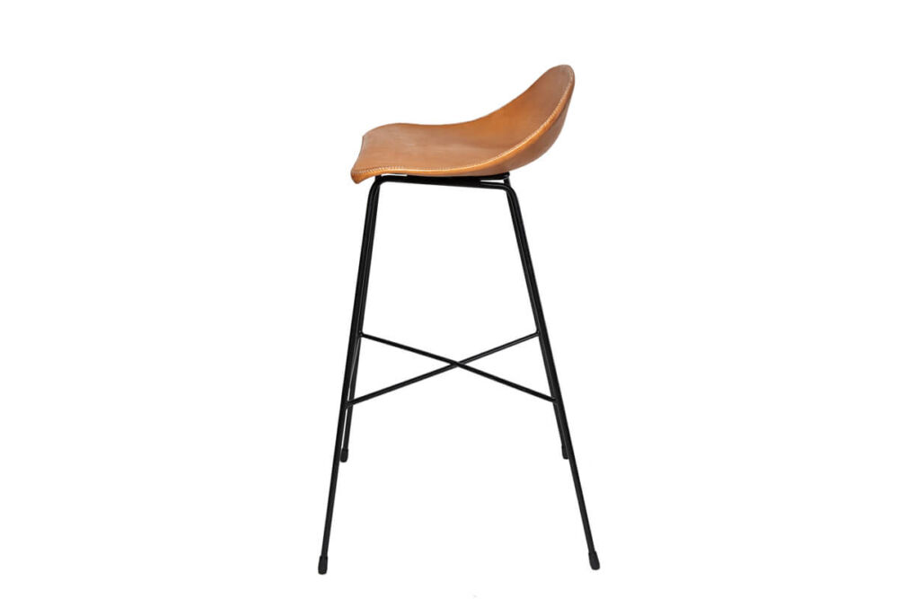 Luis bar stool in natural leather by Sol & Luna