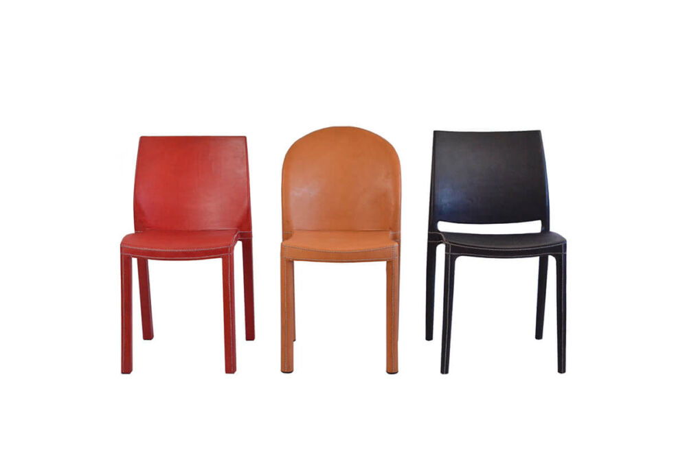 Round chair (centre) in natural leather by Sol & Luna